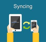 Proceso de Syncing en concepto del ejemplo del teléfono Imagen de archivo