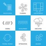 Proceso del ciclo vital del desarrollo de programas - gráfico de vector del concepto Imagenes de archivo