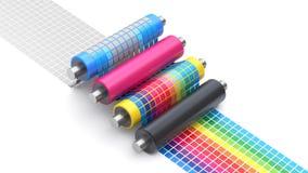 Proceso del concepto de la impresión de CMYK con el sistema de rodillos de la impresora stock de ilustración