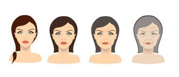 Proceso del envejecimiento del vector Chica joven y una más vieja mujer libre illustration