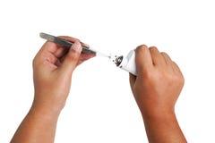 Proceso del mantenimiento del cigarrillo electrónico Imágenes de archivo libres de regalías