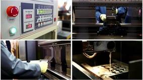 Proceso del metal en fábrica industrial - corte del laser del metal almacen de video