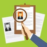 Proceso del reclutamiento de la hora con el documento Fotos de archivo