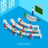 Proceso educativo isométrico Sitio de conferencia plano de la universidad 3d con el profesor y los estudiantes Fotografía de archivo libre de regalías