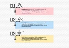 Proceso gradual de Infographics de 3 artículos u opciones con los iconos, plantilla Bloque diagrama de la bandera del negocio del ilustración del vector
