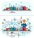 Proceso industrial global de la tecnología de la fábrica con concepto de la ecología Ejemplo plano del estilo de los edificios de