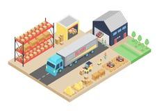 proceso isométrico 3d del almacén Ejemplo del vector del almacenamiento del cargo Interior logístico de Warehouse, construyendo libre illustration