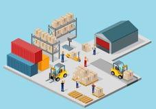 Proceso isométrico del icono 3d de Warehouse Fotos de archivo libres de regalías