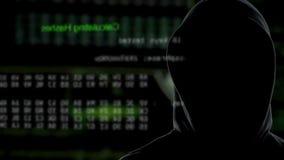 Proceso oscuro de la supervisión de la persona de transferir datos de los servidores del gobierno almacen de video