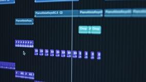 Proceso que compone de la música en el ordenador almacen de metraje de vídeo