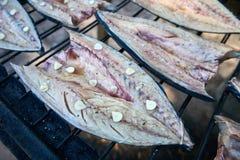 Proceso que fuma de los pescados Caballa ahumada con las hierbas y el ajo clo imagen de archivo