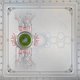 Procesoru układ scalony na kółkowym kruszcowym przyrządzie łączył z obwodem Fotografia Stock