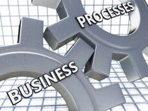 Procesos de negocio en el mecanismo de los engranajes del metal fotos de archivo