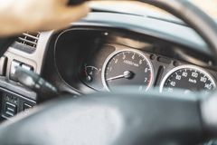 Process of adjusting car for comfort drive and turn on turning light b royalty free stock photography