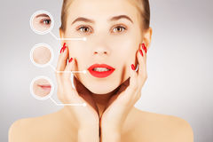 Process of aging and fighting with wrinkles, graphic circles Stock Photos