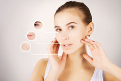 Process of aging and fighting with wrinkles,skincare. Process of aging and fighting with wrinkles Stock Photography