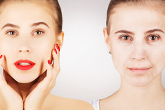Process of aging and fighting with wrinkles, two facesz. Process of aging and fighting with wrinkles Royalty Free Stock Photo