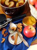 Process of apple conservation. Tools and ingredients for apples conservation Stock Photo