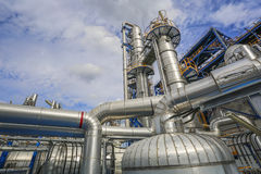 Process area of refinery plant Stock Photos