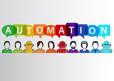 Process automation concept as background. Vector illustration of mixed group of people and machines and robots Royalty Free Stock Images
