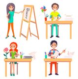 Process av att skapa Art Picture och att göra origami Royaltyfria Bilder