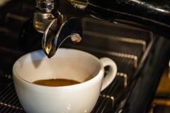 Process av förberedelsen av en cappuccino Arbeta baristaen i coffee shop behandling för förberedelse för foto för maskin för kaff royaltyfri bild
