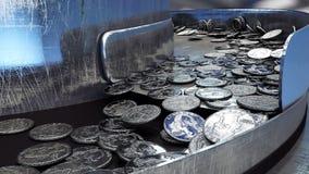 Process av produktion av mynt, 25 cent industriellt begrepp Fabriksutrustning och macine framförande 3d Royaltyfri Fotografi