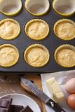 The process of baking the cake close up vertical top view Royalty Free Stock Photos