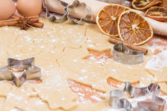 The process of baking Christmas cookies. Stock Image
