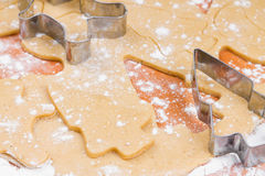The process of baking homemade Christmas cookies. Royalty Free Stock Images