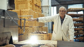Process of baking a lots of breads 4K.  stock video footage