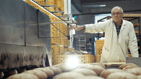 Process of baking a lots of breads 4K.  stock footage