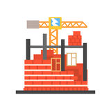Process of building a brick house vector Illustration Stock Images