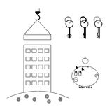 The process of building a house. New building. Purchase of housing in a mortgage. Piggy bank with a coin. A set of keys. From the apartment. Set of icons Royalty Free Stock Images
