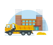 Process of building school premises with help of special truck. The process of building a school premises with the help of special equipment and truck. Modern Royalty Free Stock Image