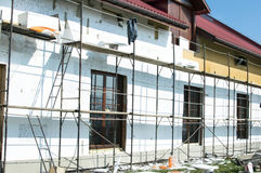 The process of building wall insulation using polystyrene Royalty Free Stock Photography