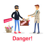 Process of Buying Counterfeit Case with Fireworks. On white. Dangerous for health and life deal between unfair man in black and gullible smiling male person Stock Photography