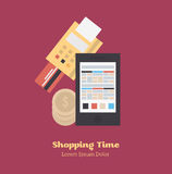 Process of buying. Process of buying with credit card and gadget. Flat Vector Illustration stock illustration