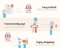 Process of buying in the supermarket. Process of finding on the map, buying with credit card and use of the product in the supermarket. Flat Vector Illustration Royalty Free Stock Photo