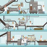 Process of caramel and chocolate production set of horizontal colorful banners. Chocolate factory colorful detailed vector Illustrations Royalty Free Stock Images