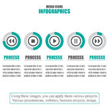 Process chart. Business data. Set of media icons. Vector illustration Royalty Free Stock Photos