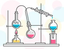 Process of chemical reaction in the scientific laboratory, consisting of flasks and hoses vector illustration