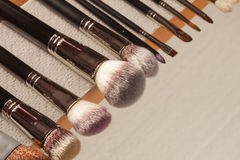 Process of cleaning drying makeup brushes Stock Images