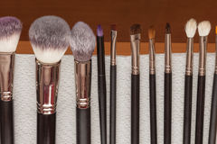 Process of cleaning drying makeup brushes Royalty Free Stock Image