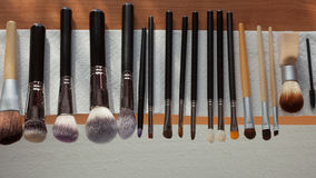 Process of cleaning drying makeup brushes Royalty Free Stock Photos