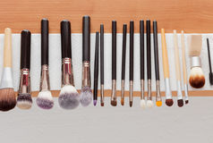 Process of cleaning drying makeup brushes Stock Image