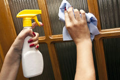 Process of cleaning, wiping Stock Photo