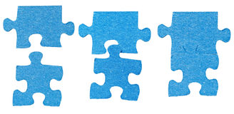 Process of connecting of two jigsaw puzzle pieces Stock Photography