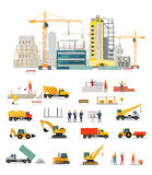 Process Construction of Residential Houses. Process of construction of residential houses . Big building dormitory area. Icons of construction machinery Royalty Free Stock Photography