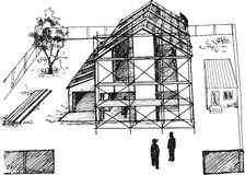 Process of construction of residential houses. Excellent chart Royalty Free Stock Image